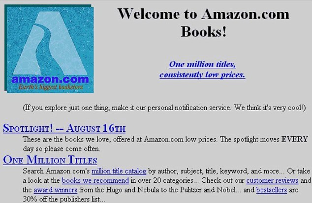 Amazon first homepage design